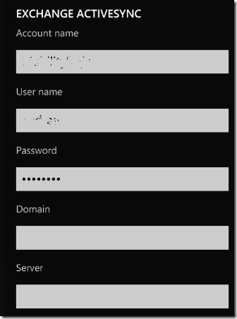 Windows 7 Phone Activesync Settings
