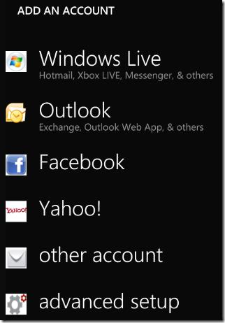 Windows 7 Phone Add Account